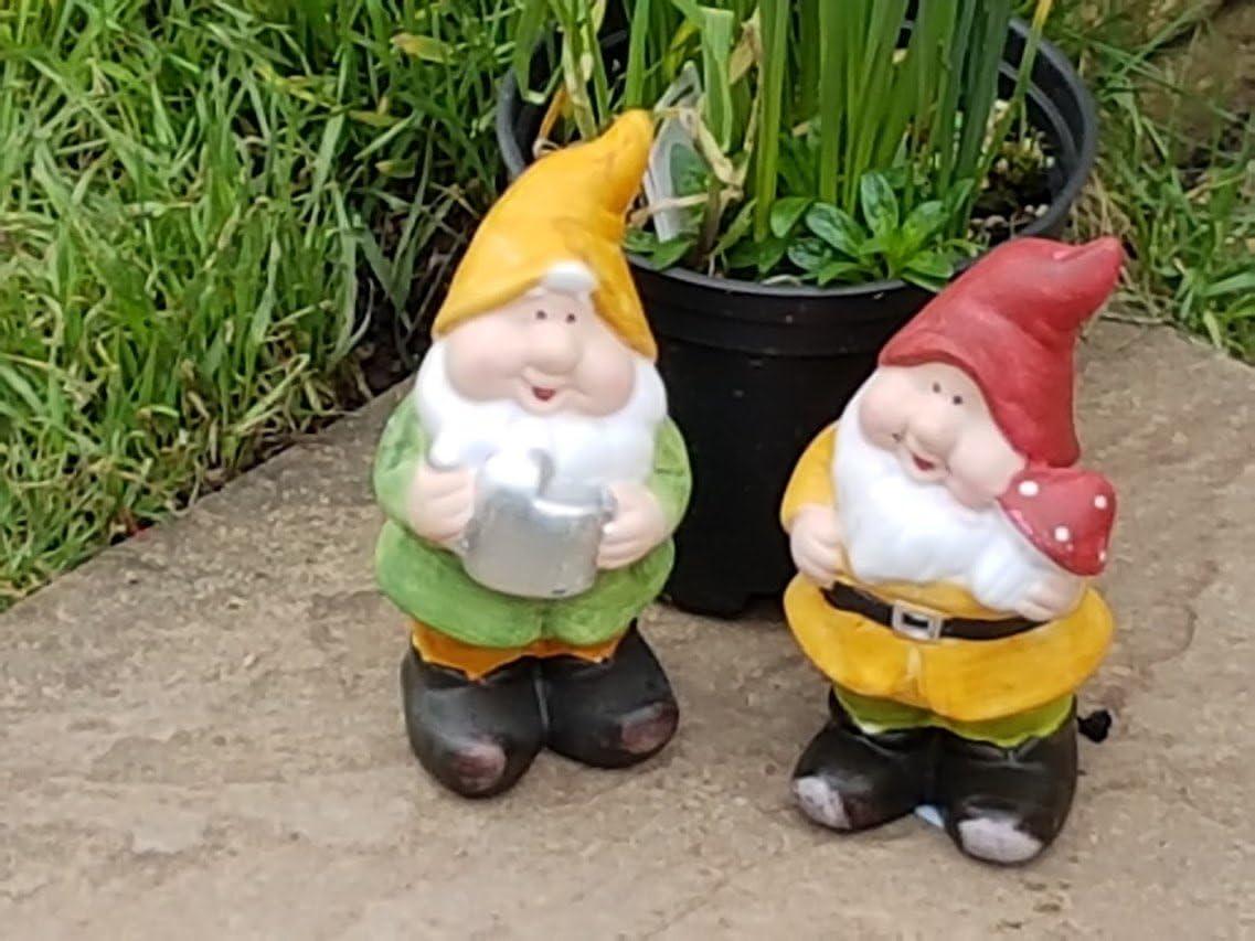 Aim - Par de gnomos de cerámica para jardín, 18 cm de alto, adornos para césped: Amazon.es: Jardín