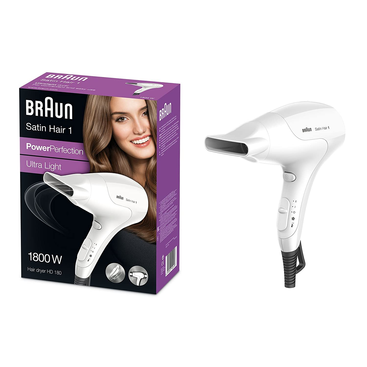Braun Satin Hair HD 180 - Secador de pelo (17,8 cm, 8,6 cm, 24,2 cm, 3,83 kg, 541 x 194 x 271 mm) Color blanco: Amazon.es: Salud y cuidado personal