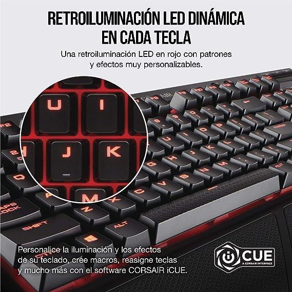 Corsair K68 Teclado mecánico Gaming retroiluminación LED rojo, resistente al polvo ya las salpicaduras,QWERTY español, Cherry MX Red (Suave y rápido)