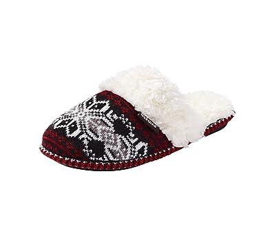 Amazon.com | Muk Luks Women's Fair Isle Knit Slipper | Slippers