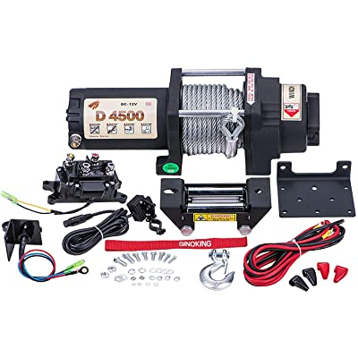 "SINOKING 12VDC 4500lb/2041kg,High Speed UTV ATV Winch with 1/4""×32′(feet) Wire Rope Electric Winch Kit: Automotive"