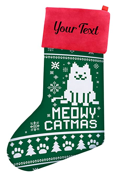 Cat Christmas Stockings.Christmas Stockings Cats Christmas Meowy Christmas Cat Ugly Christmas Sweater Themed Christmas Stockings Cat Lovers Gifts Personalized Christmas