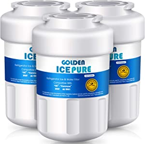 3 PACK Golden Icepure water filter compatible with GE MWF ; MWFP; MWF3PK ; MWFA ; MWFAP ; MWFINT ; Also Compatible With GWF; GWF01; GWF06; GWFA; HWF;HWFA; FMG-1