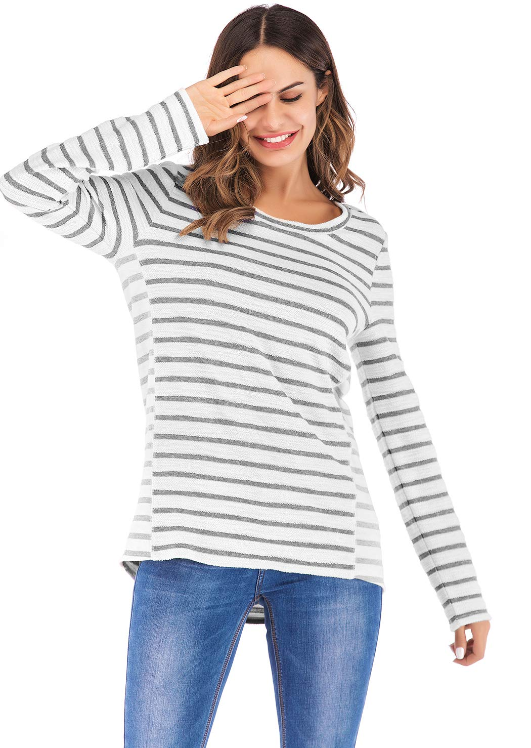 Eanklosco Long Sleeve Striped Shirt Women Casual Gray/Blue White Stripe T-Shirt Loose Round Neck Tunic Tops (Gray+White, 2XL)