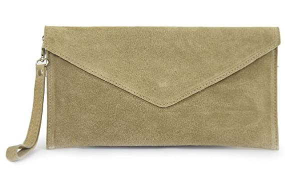 bdb1ac73be2 GFM Brand Italian Suede Large Envelope Shaped Clutch bag Purse handbag -  Available in 25 Colors (011-HLTP - Light Taupe): Amazon.co.uk: Clothing