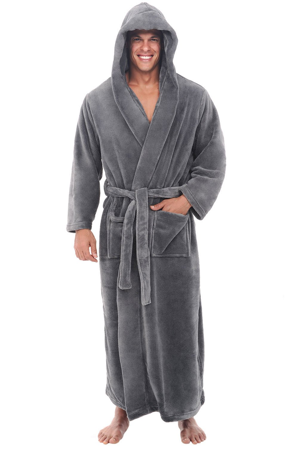 Alexander Del Rossa Mens Fleece Robe, Long Hooded Bathrobe, 3XL 4XL Steel Grey (A0125STL4X)