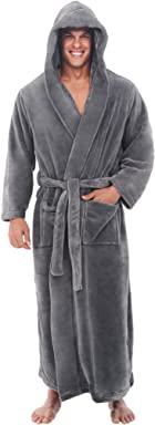 Alexander Del Rossa Mens Fleece Solid Colored Robe, Long Hooded Bathrobe