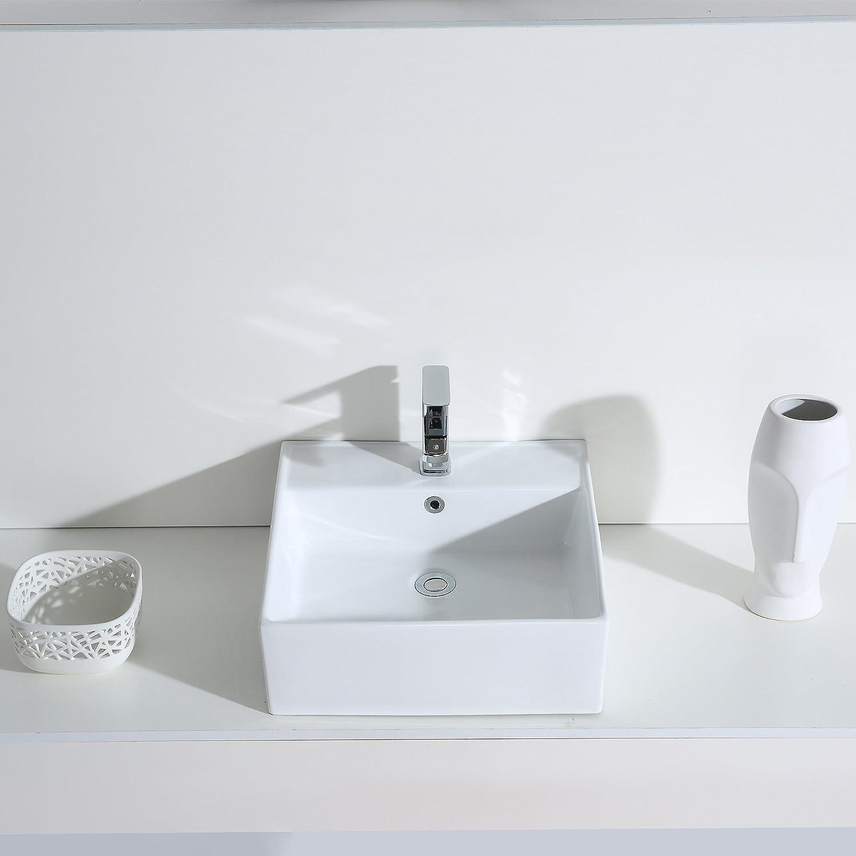 Eridanus S/érie Monterosso Vasque /à Poser Suspendu Rectangulaire Salle de Bain Lavabo en C/éramique Lave-Mains L54*L41*H15cm