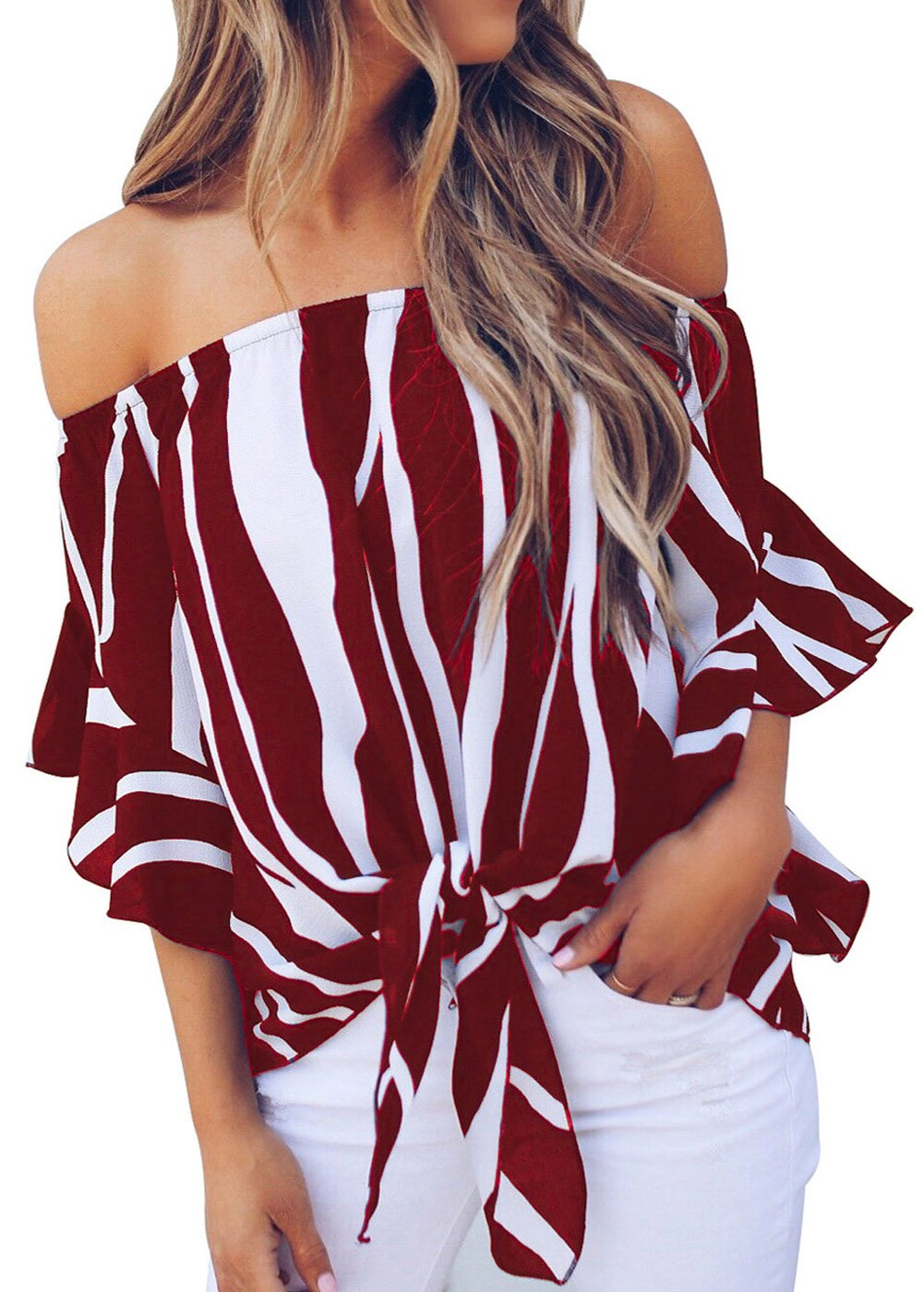 Plus Size Tops for Women Off The Shoulder Striped Front Tie Knot Summer Blouse Red L