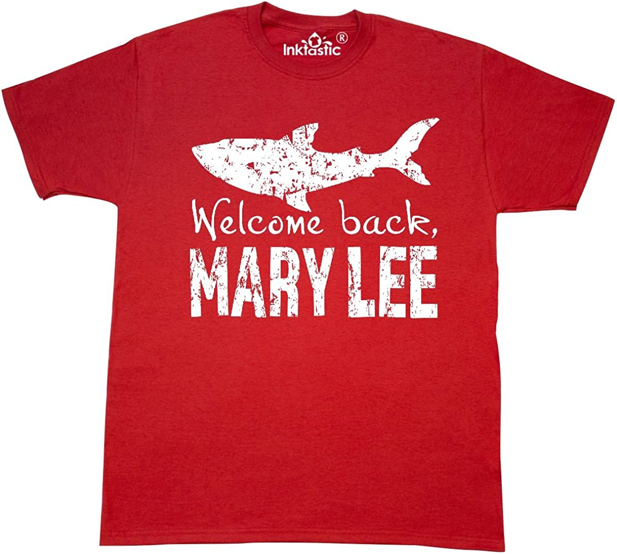 inktastic Welcome Back, Mary Lee Great White Shark Grungy Text T-Shirt