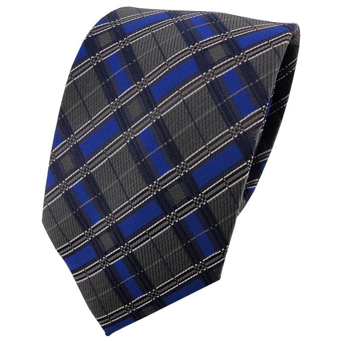 TigerTie - Corbata - azul royal antracita plata negro a cuadros ...