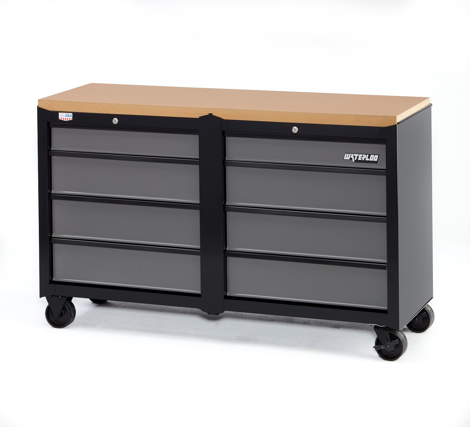 Waterloo W100 Series 8-Drawer Mobile Workbench, 53'' - Designed, Engineered & Assembled In the USA