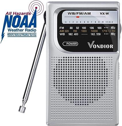 AM FM Emergency Portable Radio Silver//Grey