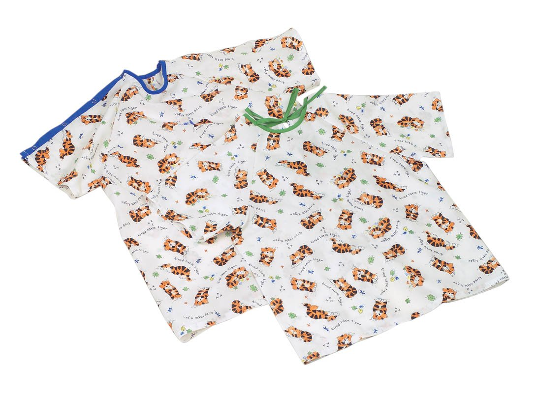Medline MDT011286S Tired Print Pediatric Gowns, Tired Print, Small, Tiger (Case of 24)
