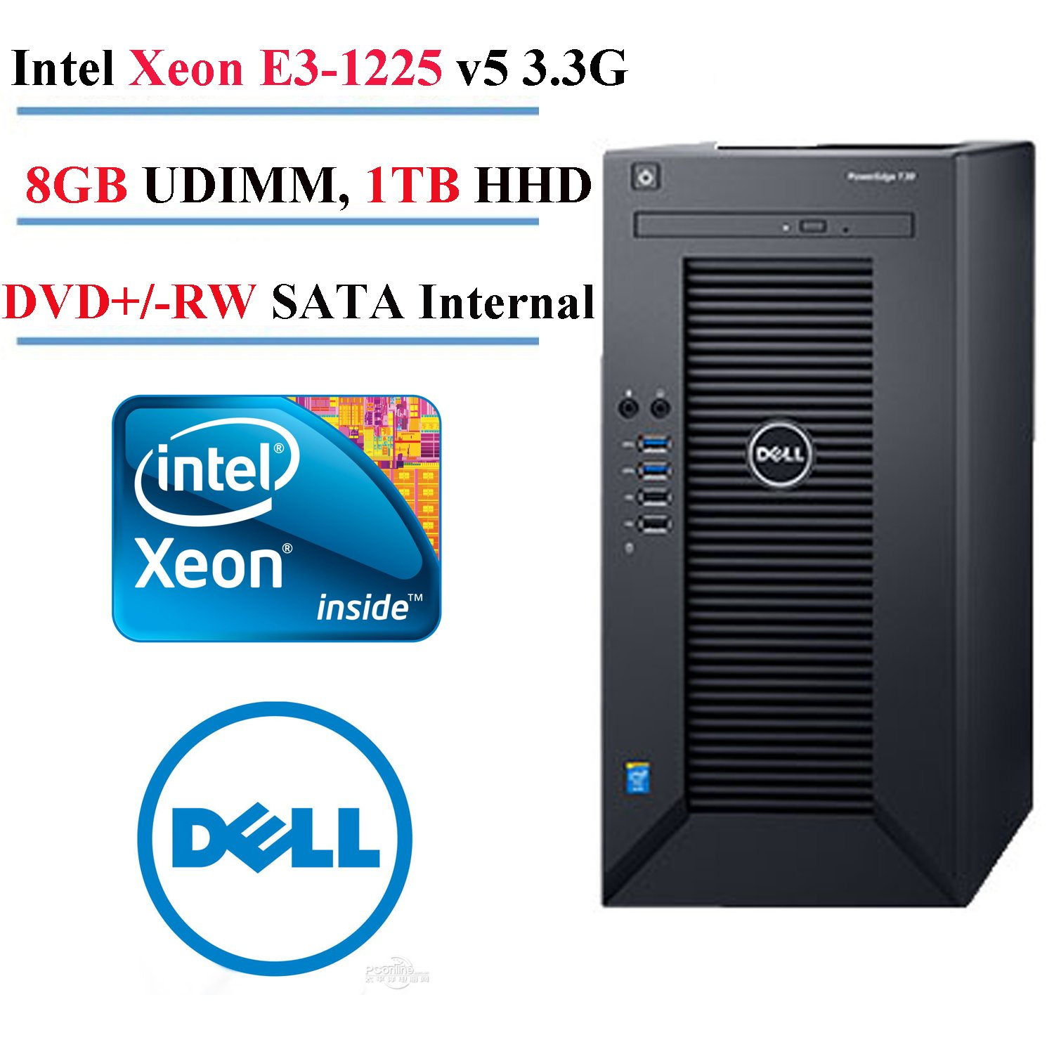 2017 Newest Dell PowerEdge T30 Mini Tower Server Desktop , Intel Xeon E3-1225 v5 3.3G, 8M cache, 8GB UDIMM, 2400MT/s, 1TB Hard Drive by Dell