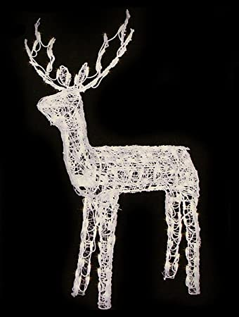 48 animated crystal 3 d standing buck reindeer lighted christmas yard art decoration - Animated Lighted Reindeer Christmas Decoration