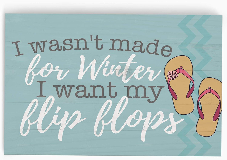 P. Graham Dunn I Want My Flip Flops Nautical 5 x 3.5 Pine Wood Tabletop Word Block Plaque