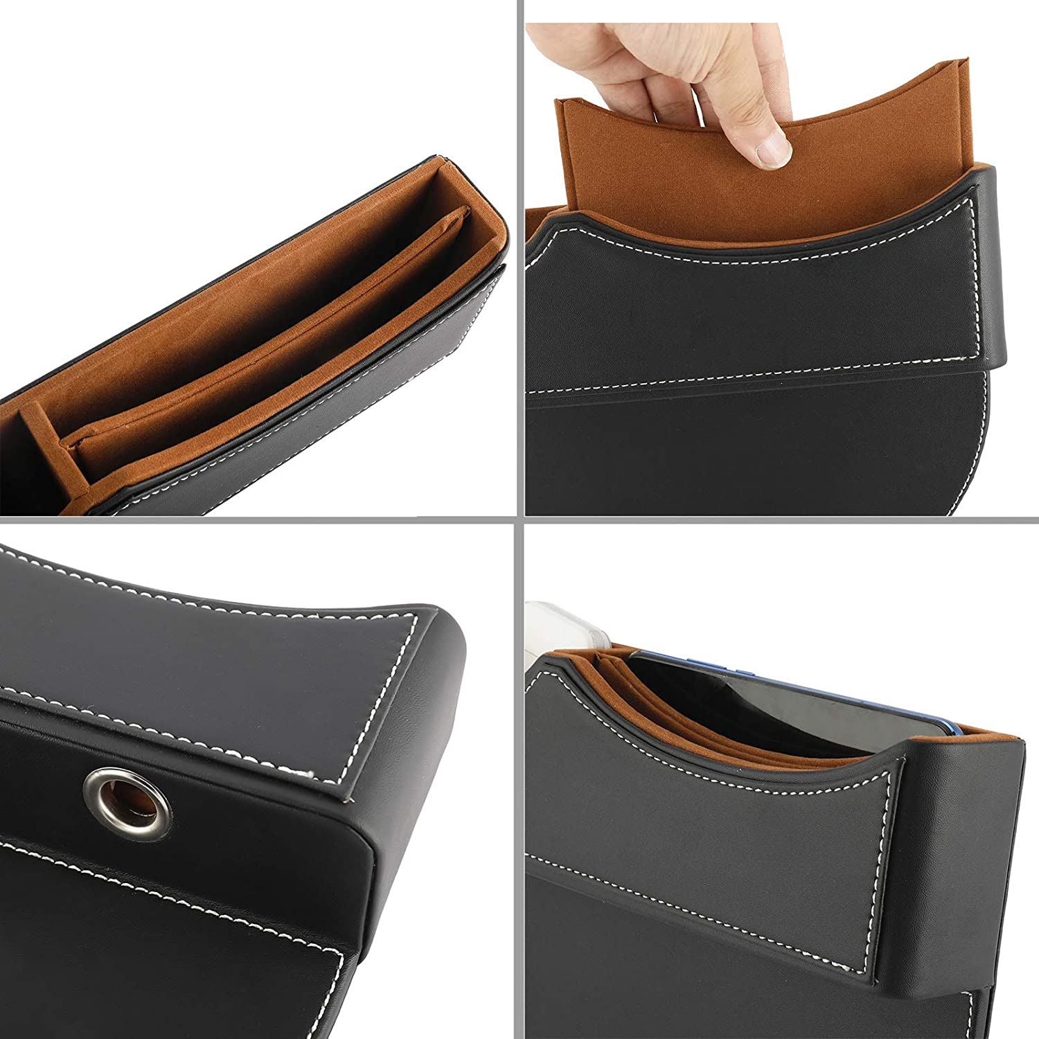 NovelBee 2 Pack of PU Leather Car Seat Gap Filler,Console Organizer,Pocket,Seat Catcher,Seat Crevice Storage Box