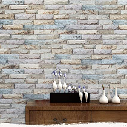 Timeet Brick Peel And Stick Wallpaper Self Adhesive Film 3d Stone Textured Decor Paper For Room 17 7in X 16 4ft Grey