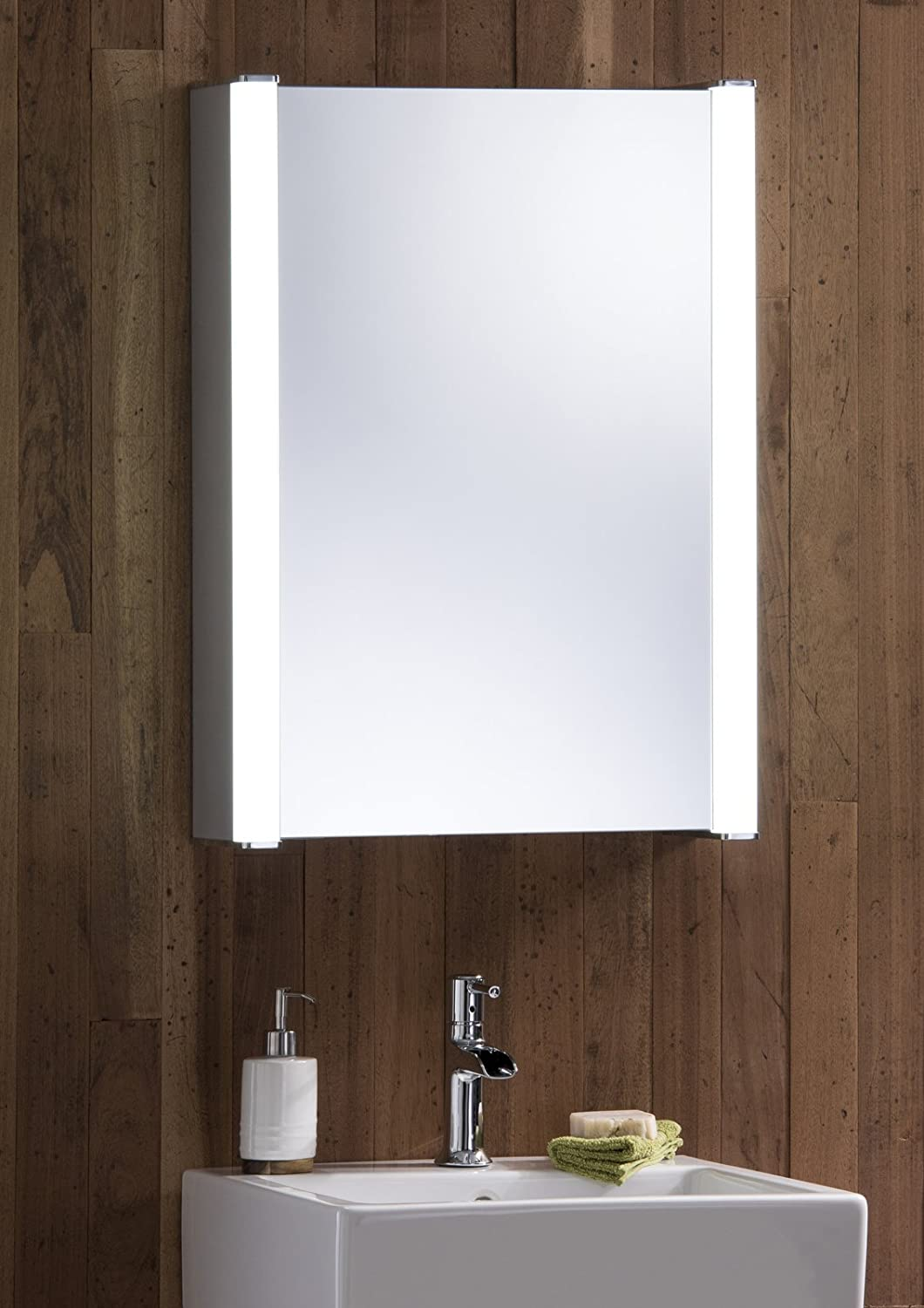Bathroom mirror cabinets with light and shaver socket - Led Illuminated Bathroom Mirror Cabinet With Demister Heat Pad Shaver And Sensor Switch With Lights 70cm H X 50cm W X 16cm D C11 Amazon Co Uk Kitchen