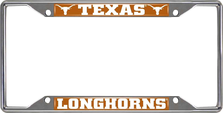 University of Texas Longhorns License Plate Frame Chrome Screw Covers