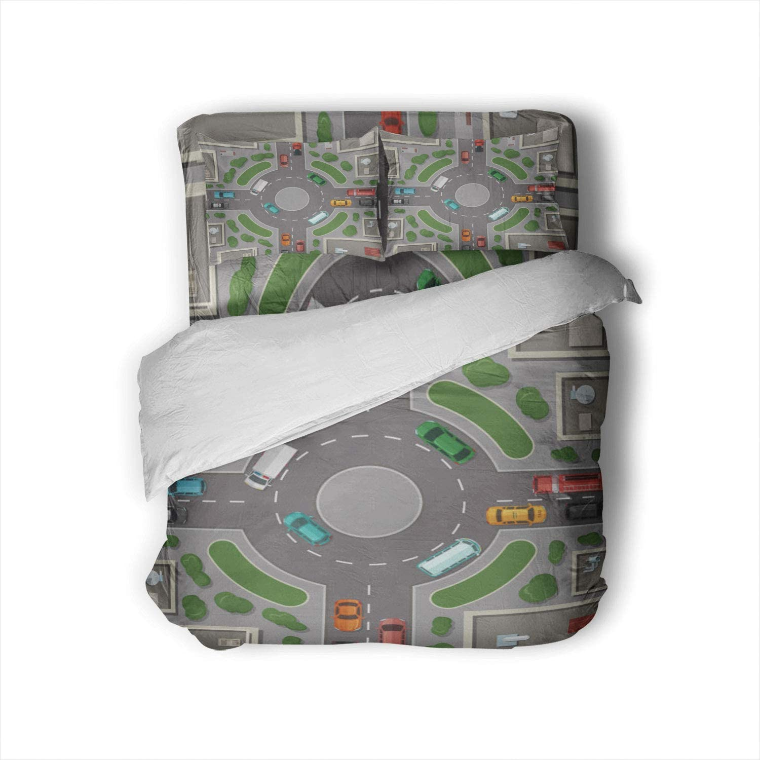 C COABALLA Vector City Buildings,Duvet Cover Set Roads and Cars top View Illustration - USA 3D Print Bed Set with Zipper Cloure Twin Size