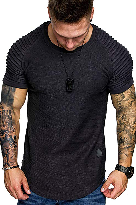 PTSPDP Men's Plain Tee Round Neck Top Pleated Athletic Shirts Short Sleeve Sport T-Shirt