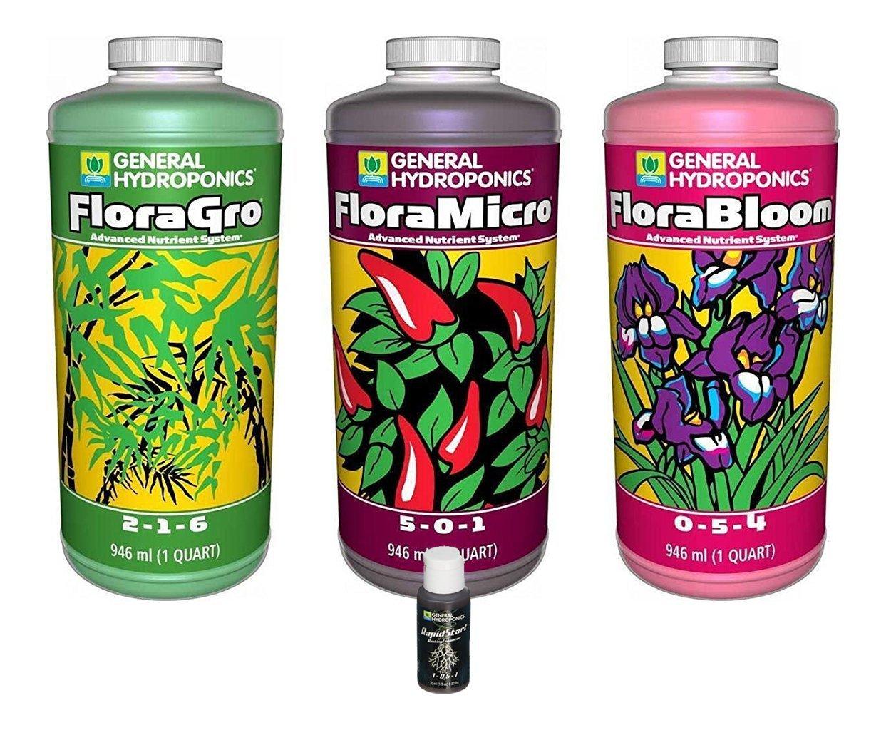 General Hydroponics GLCMBX0003 Floragro, Florabloom, Floramicro Fertilizer Set + 1oz Rapidstart, 1 Quart Combo Pack
