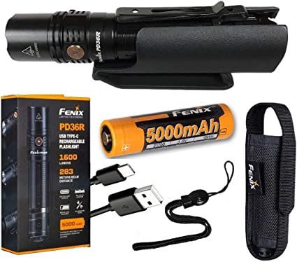 Fenix PD36R 1600 Lm Tactical Flashlight w// Battery /& Red Light Filter