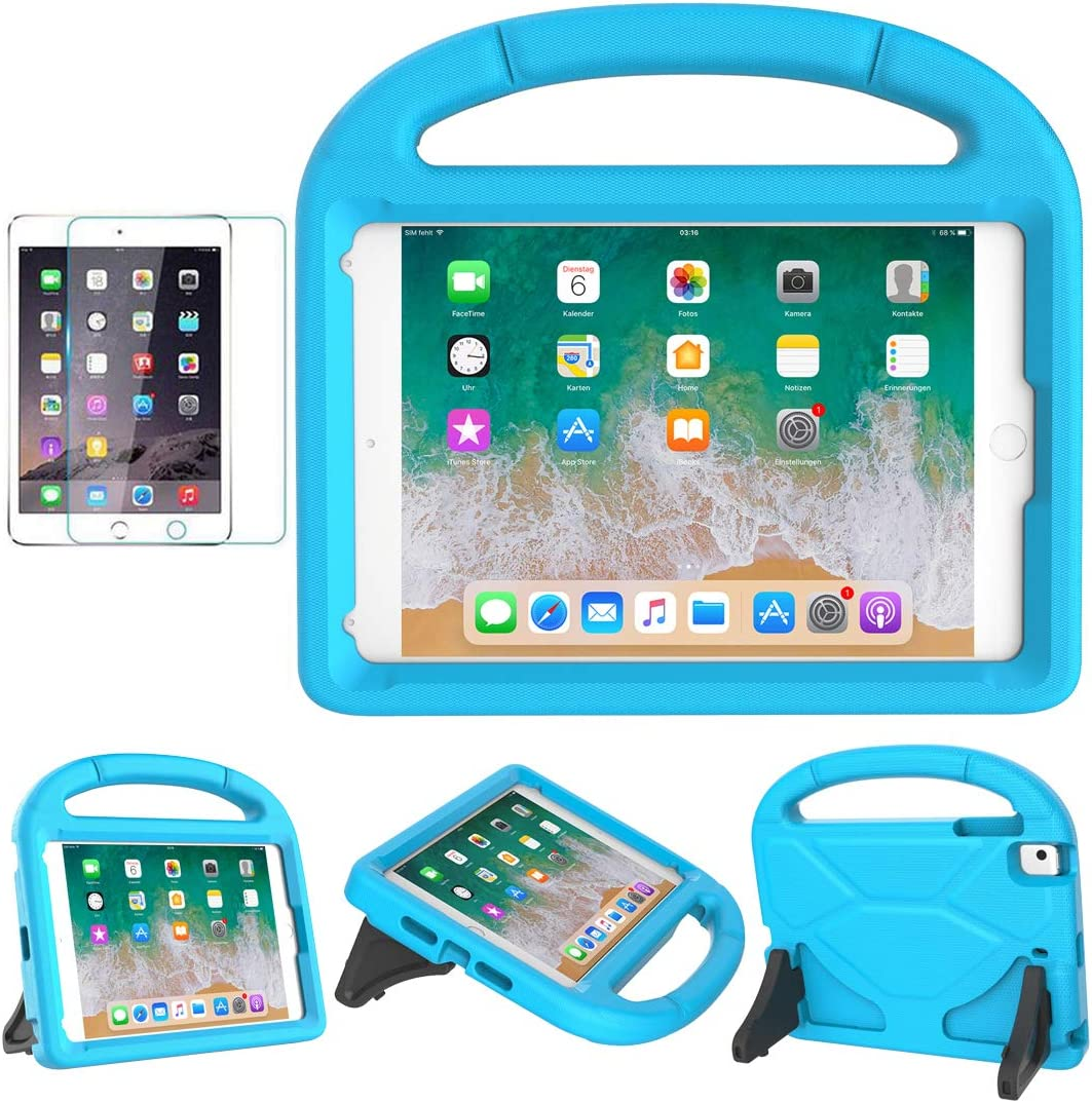 MOXOTEK Kids Case for iPad Mini 5/4/3/2/1, Durable Shockproof Protective Handle Stand Bumper Cover with Screen Protector for Apple 7.9-inch iPad Mini 5th (2019) 4th 3rd 2nd 1st Generation, Blue