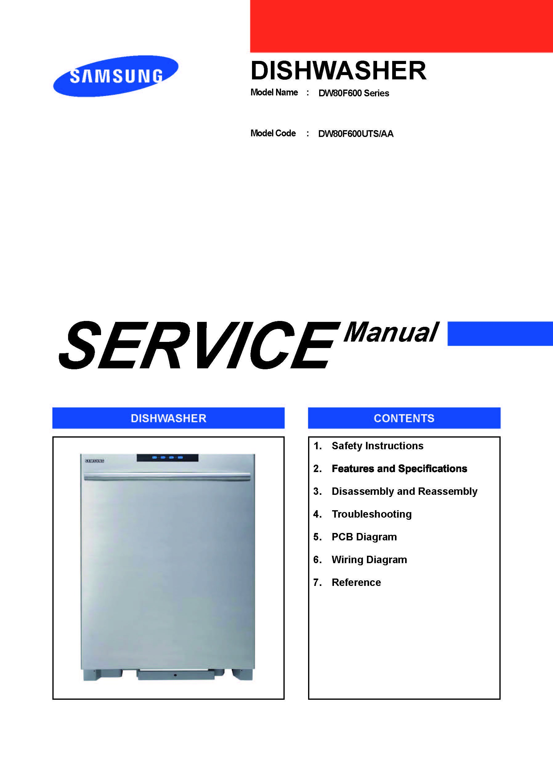 Dw80f600 Series Dishwasher Service Manual Samsung Books Wiring Code