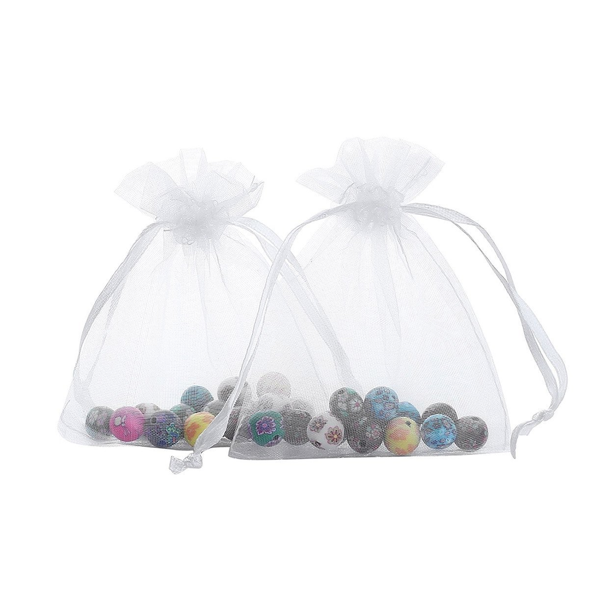 Jofeel 50PCS Drawstring Organza Jewelry Candy Pouch Small Wedding Party Favor Gift Packing Bags Royal Blue, 7.5x12