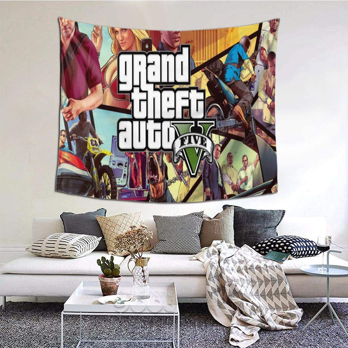 YaoXin Tapestry Wall Tapestry G-rand Th-eft Auto V Wall Hanging Tapestry with Romantic Pictures Art Nature Home Decorations Dorm Decor Tapestries 6051 Inch