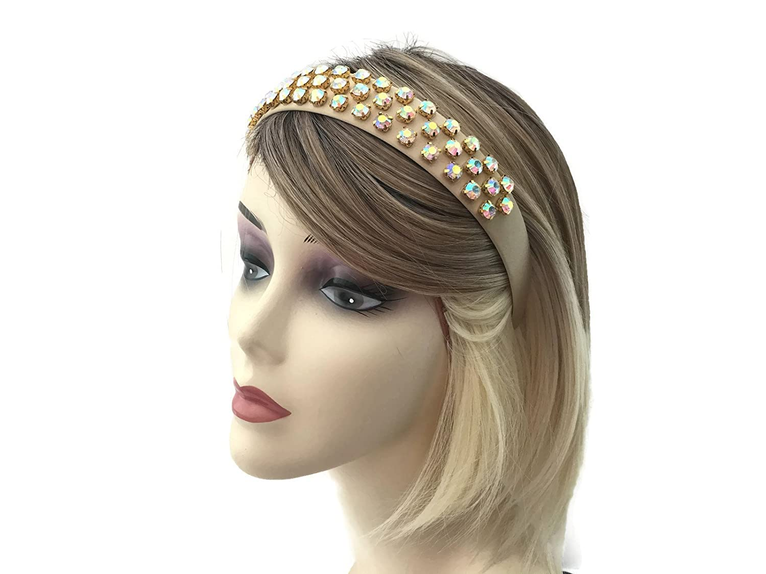 Beautiful Nude Gold Satin Covered Jewelled Alice Band with AB Diamante Jewels 2.5 cms Wide Crystal Headband Women's Gift