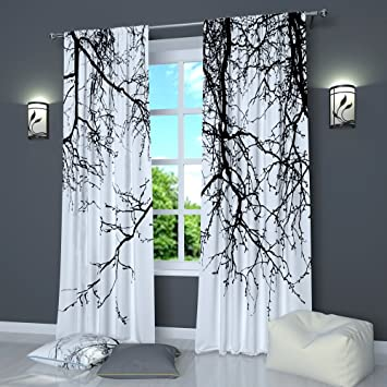Amazon Black And White Curtains By Factory4me Branches Window Curtain Set Of 2 Panels Each W42 X L84 Total W84 Inches Drapes For Living