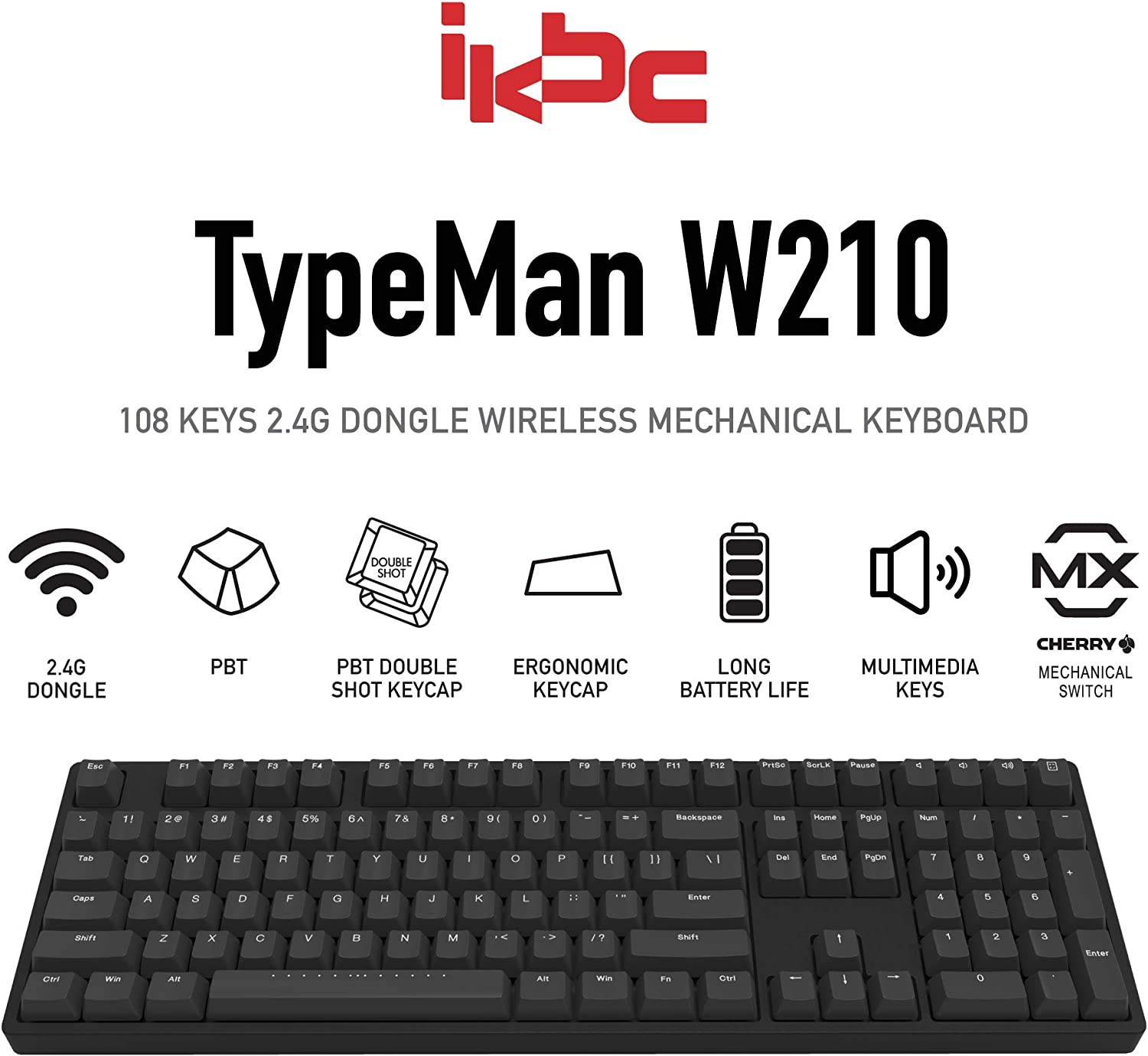 iKBC W210 Wireless Mechanical Keyboard with Cherry MX Red Switch for Windows and Mac OS, Enables Media Key and LED Indicator (2.4G Dongle, USB 2.0, PBT Double Shot 108 Keycaps, Black Color, ANSI/US)
