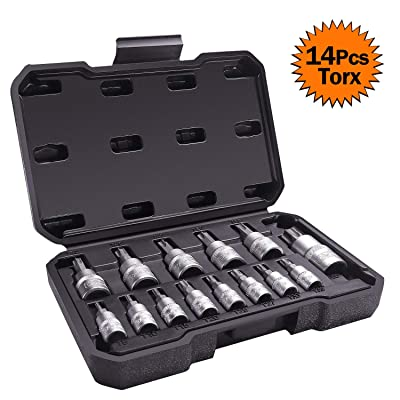 TACKLIFE 14-Piece Torx Bit Socket Set, T8 - T60, S2 Alloy Steel Bit Cr-V Steel Socket, High Cost Performance, TBS1A