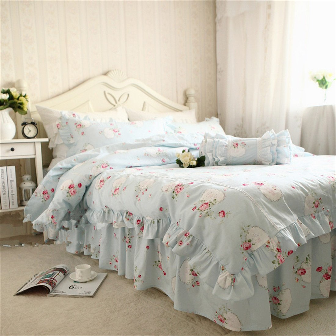 Lotus Karen 100%Cotton Blue Pastoral Flowers 4PC Floral Bed Sheet Set Ruffles Korean Bedding Set With Romantic Love Letters Patterns For Wedding Bedding King,1Duvet Cover,1Bedskirt,2Pillowcases by Lotus Karen (Image #3)