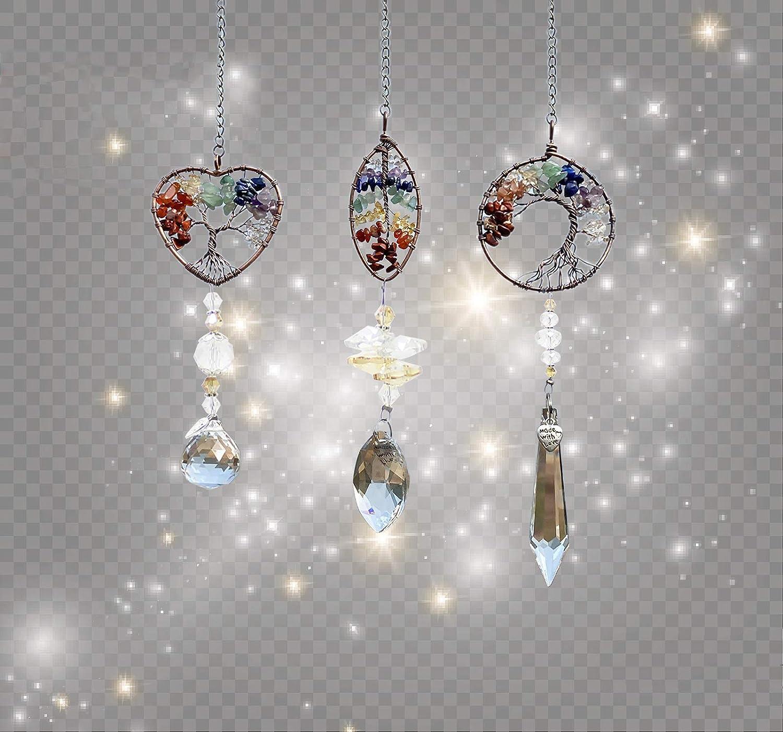 Home Decoration Garden Crystal Ball Prism Chakra Crystal Pendants for Window INNOLITES 3 pcs Handmade Life Tree Pendant Suncatcher Crystal Prism Tree Wall Hanging Hanging Window Ornament