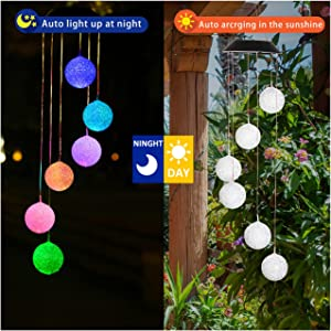 SODELIC Solar Wind Chime Light, Led Color Changing Crystal Ball Wind Chime with Bell, Waterproof Hanging Solar Lamp for Home Patio Yard, Decorative Windbell Light for Outdoor Indoor with Hook