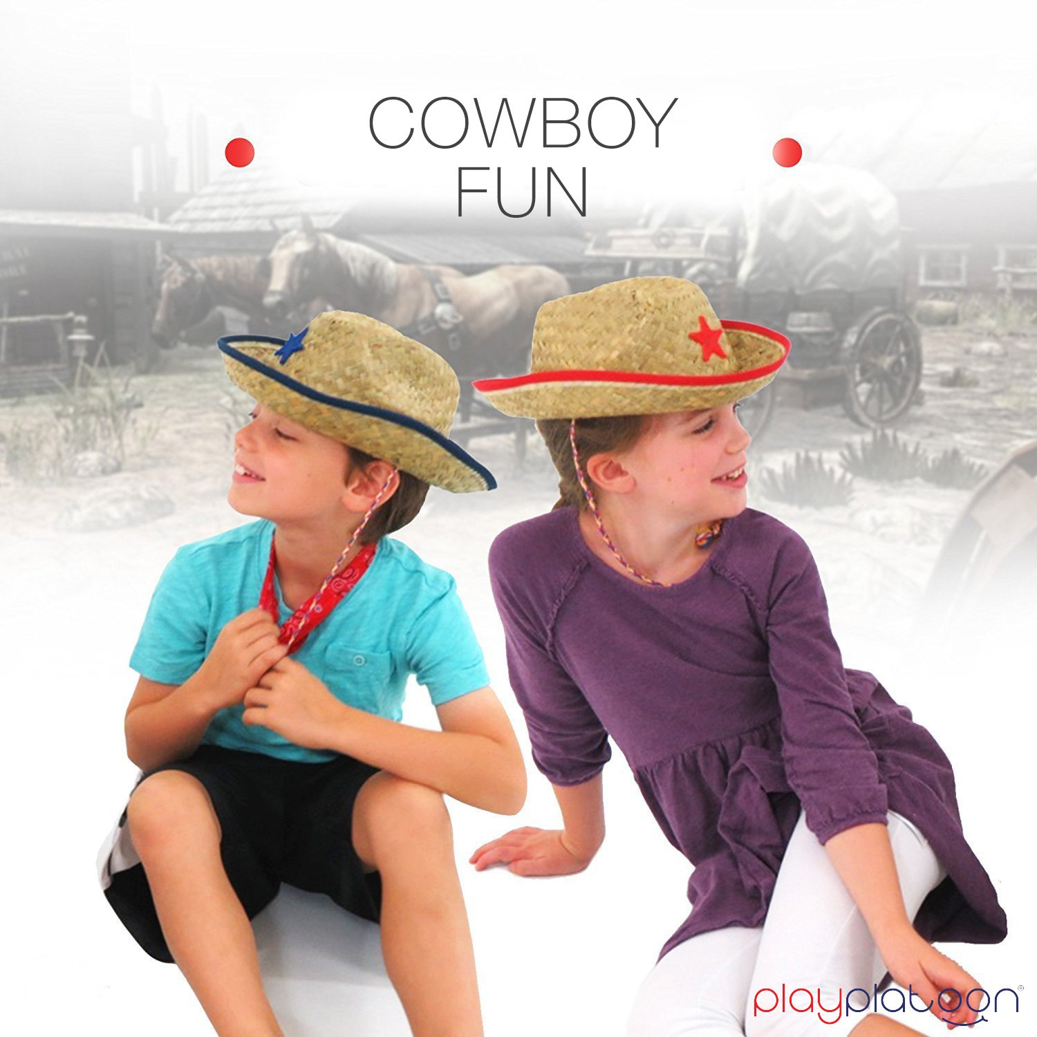 Dozen Straw Cowboy Hats with Cowboy Bandanas 6 Red /& 6 Blue for Kids Makes Great Birthday Party Hats for Boys and Girls