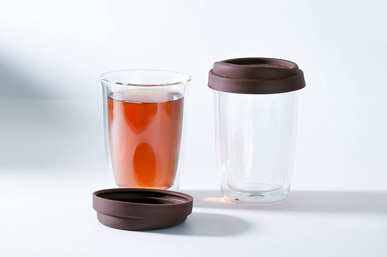 POTIRI Double Walled Insulated Glass Cup With Silicone Lid - 12 Ounces each (Set of Two) - Perfect for Coffee or Tea