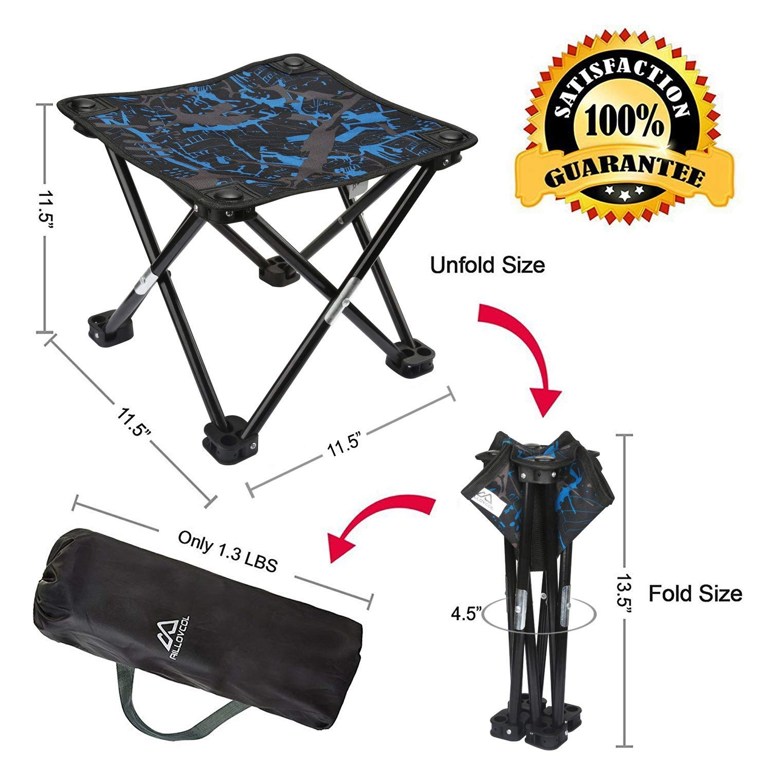 AILLOVCOL Mini Portable Folding Stool, Mini Camp Stool, Outdoor Folding Chair for BBQ,Camping,Fishing,Travel,Hiking,Garden,Beach,Oxford Cloth Seat ...