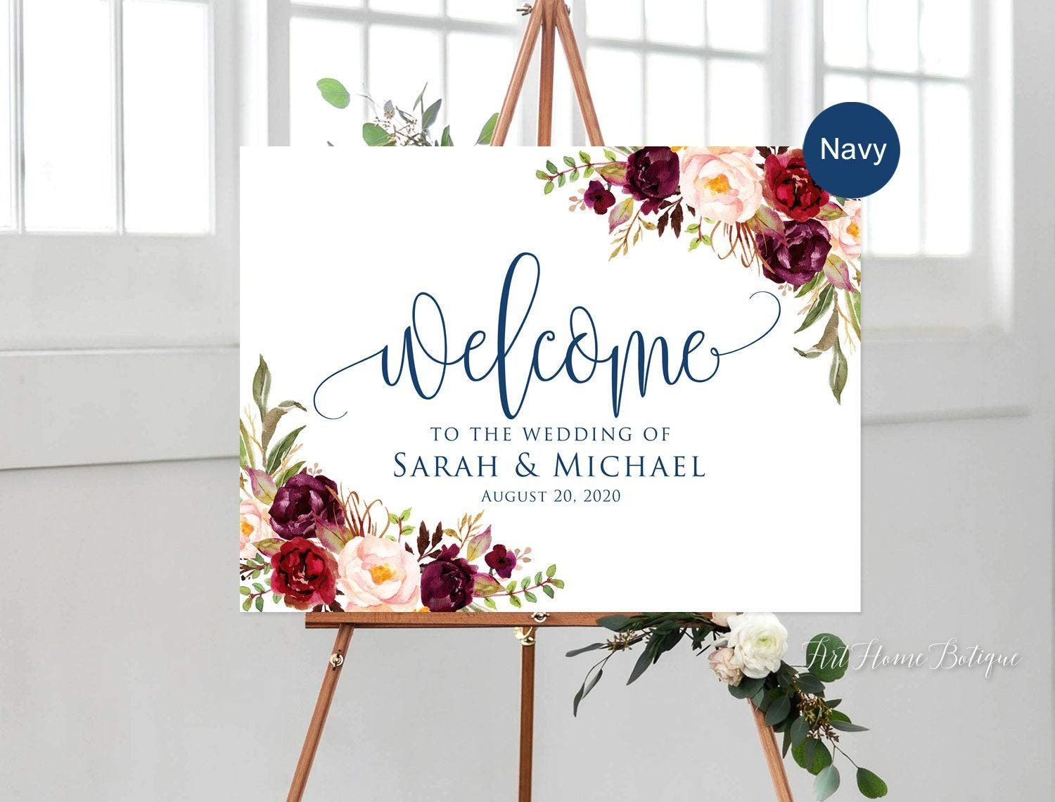 Eyrrme Cartel de Boda con Texto en inglés Welcome to Our ...