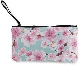 hgfdhfgjrfj Canvas Coin Purse Watercolor Pink Cherry Blossom Sakura Customs Zipper Pouch Wallet For Cash Bank Car Passport