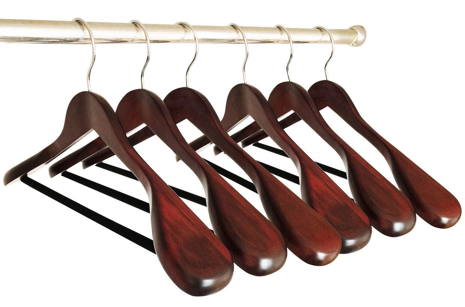 B&C Home Goods Set of 6 Luxury Wooden Hangers - Extra Wide Wood Coat Suit Hangers with Velvet Bar for Coats Clothes and Pants - Wide Shoulder