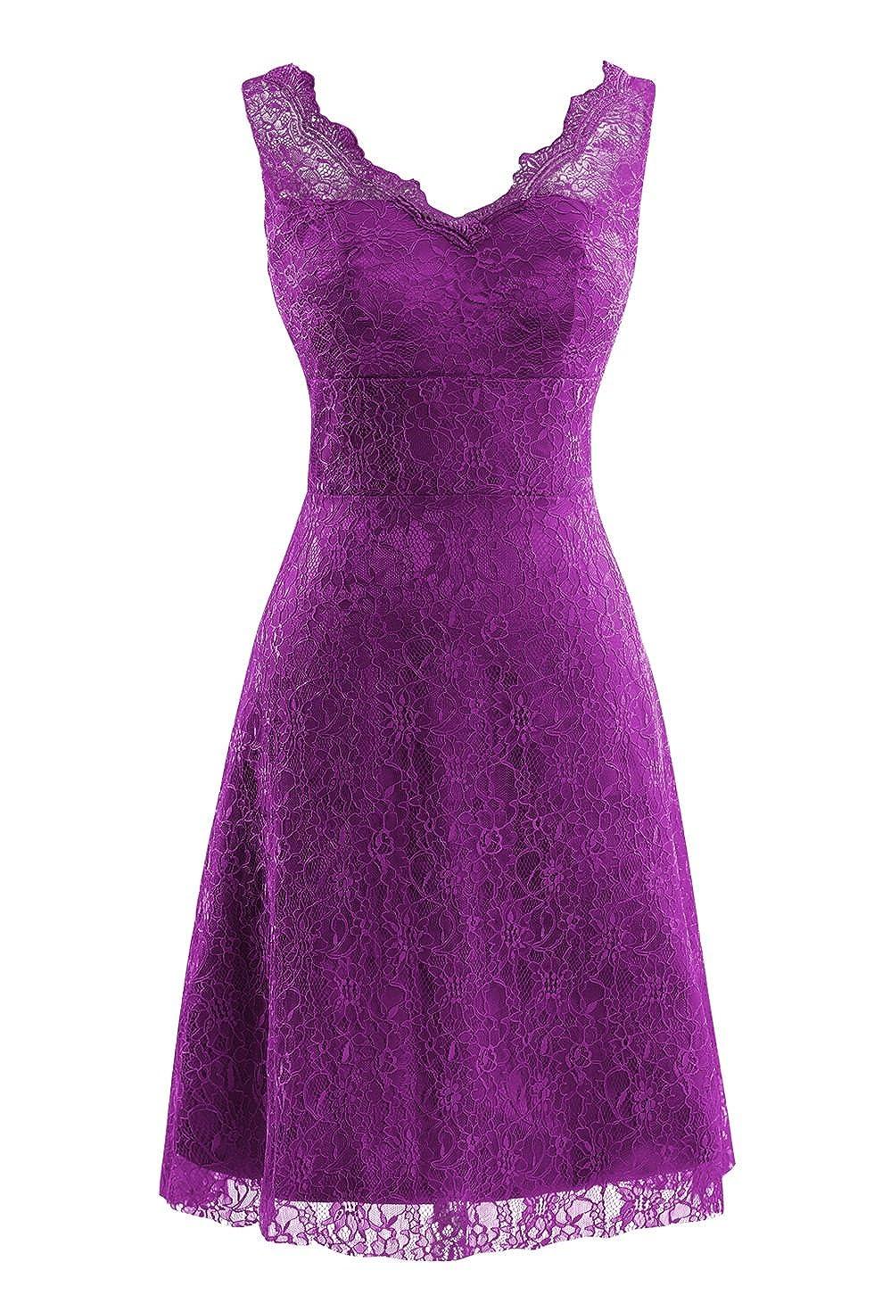 Grape Bess Bridal Women's V Neck Lace Knee Length Prom Party Dresses