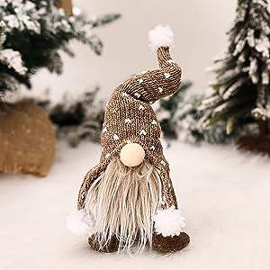 Tengma Christmas Gnome Mini Plush Handmade Santa Cloth Doll Birthday Present for Home Christmas Holiday Decoration,Winter Table Home Ornaments Tabletop Santa Figurines (Khaki)