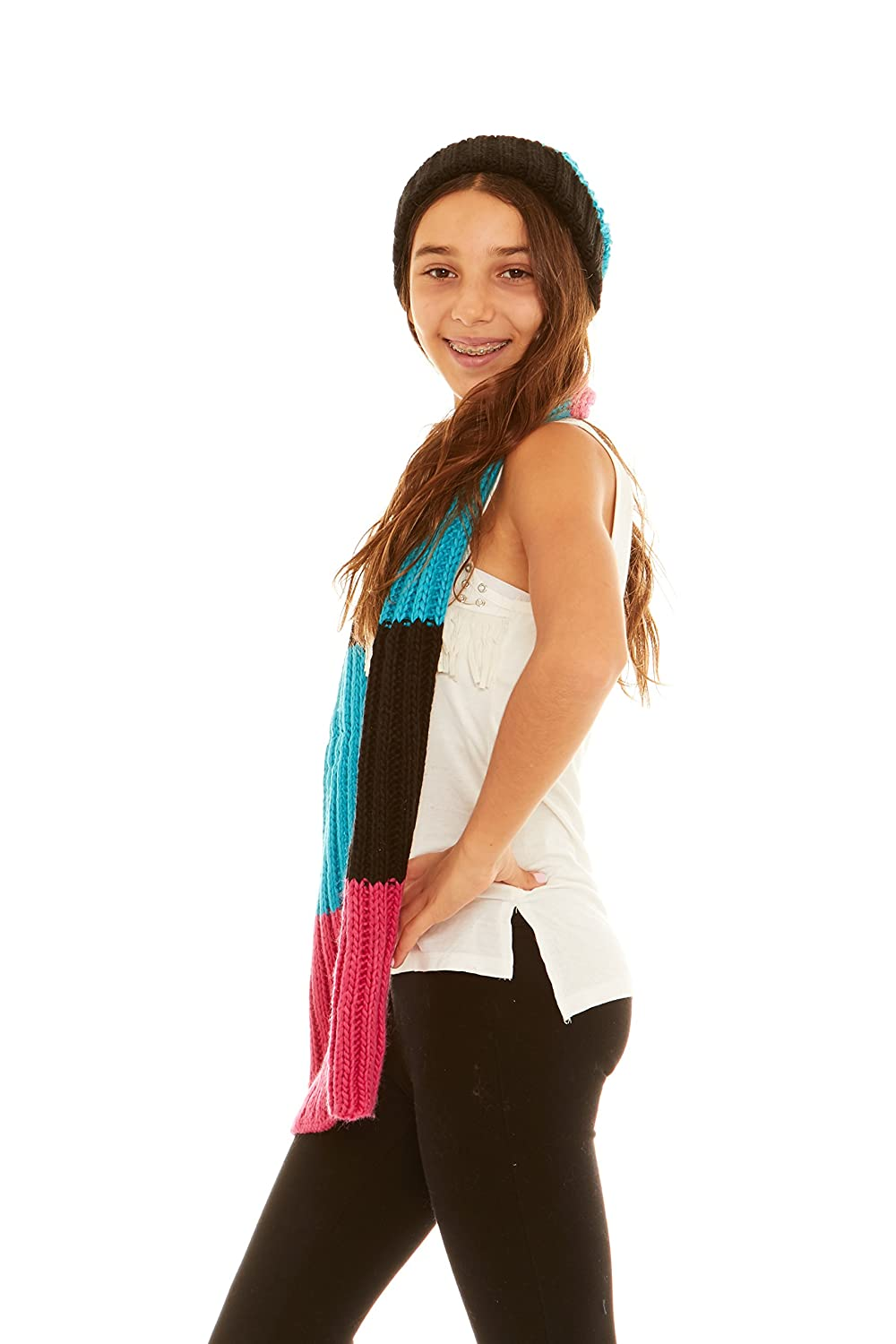 Crush Girls Winter Classic Cable Knit Hat /& Scarf Sets