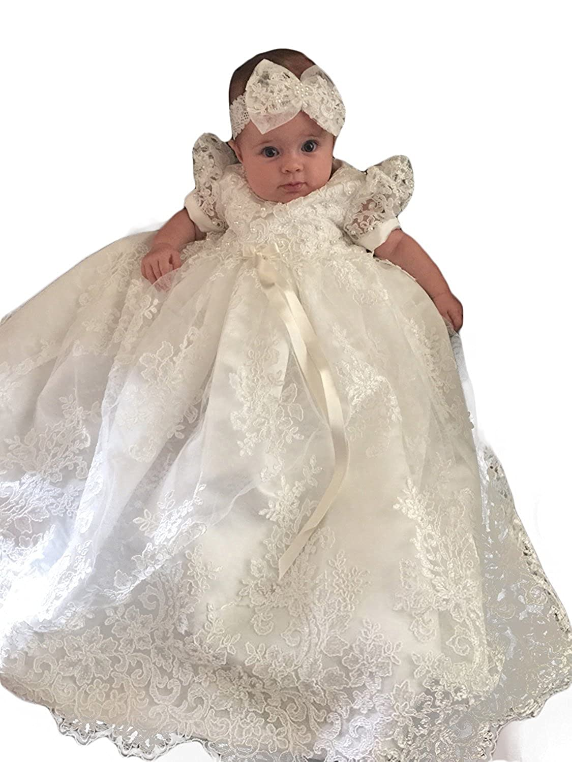 Banfvting Baby-girls Lace Beads Infant Toddler White Christening Gowns Long